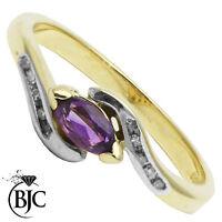 BJC 9 ct Oro amarillo Amatista & Diamante Marquesita Retorcido