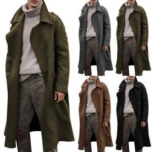 Men Winter Trench Coat Double Breasted Warm Outwear Long Overcoat Formal Jacket