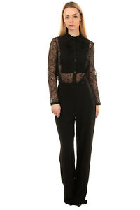 RRP €175 HANNY DEEP Jumpsuit Size IT 42 / S Lace Top Pleated Made in Italy