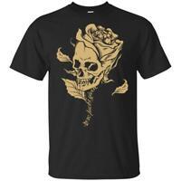 Rose Skull Zero F*cks Given Men T-Shirt Cotton S-6XL Made in USA
