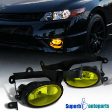 For 2006-2008 Honda Civic Coupe Front Fog Lights Driving Lamp+Switch Yellow Lens
