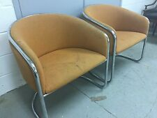 Anton Lorenz for Thonet Cantilever Chrome Barrel Back Club Chairs (pair of 2)