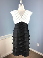 Andre Oliver M 10 Black White Empire tiered sheath dress Cocktail Formal EUC
