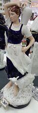 Porzellan Figur royal dux Frau mit Ziege kobaltblau weiß