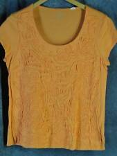 Chico's 2 Large Orange Cap Sleeve Cotton Knit Shirt Top Embroidery Chicos