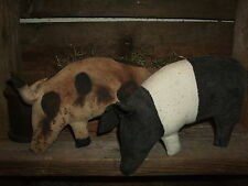 Primitive PAIR HOGS Folk Art PIGS Bowl Fillers Ornies Rustic Barnyard Tucks