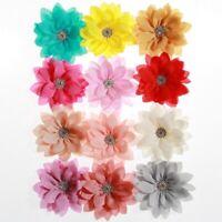 50PCS 8.5CM 3.4inch Newborn Lotus Leaf Flowers With Rhinestone For Headband