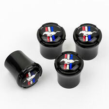 Ford Mustang Horse & Bar Logo Black Tire Valve Stem Caps  - Black - USA Made