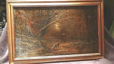 "ANTIQUE 18c FRENCH OLD MASTER OIL ON CANVAS PAINTING""AUTUMN IN AVIRONDOD"",SIGNED"