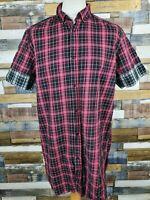 ASOS Mens Red/Black Tartan Check Short Sleeved Cotton Casual Shirt Size XL