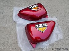 HONDA CG125 CG100  red Side Cover Pair , Left & Right  + emblem  // New