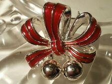 Vintage Silver Tone Anne Klein Red Enamel Bow Brooch With Bell Charms