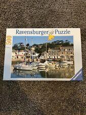 RARE Ravensburger 500 Pc Puzzle, Mediterranean Harbor, boat Dock Scene Free Ship