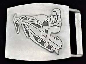 Snowmobile Snowmachine Winter Sports 1980s Vintage Belt Buckle
