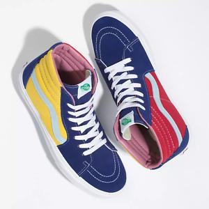 Vans SK8 Hi Sunshine Shoes Multicolor Blue Yellow Red Hi-Top Sneakers Men Sz 10