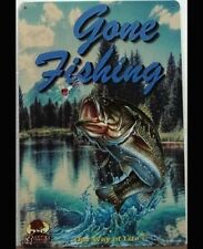 GONE FISHING Vintage Retro Metal Tin Sign Plaque Garage Bar Pub ManCave- Home