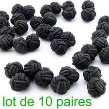 Lot de 10 Paires de Boutons manchette Tissu Passementerie Boule Noeud Noir