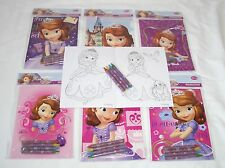 6 pcs Disney Sofia the First Coloring Book & 24 Crayons Set School Party Supply