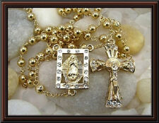 """Gold filled Catholic Rosary Cross 26"""" Long Necklace"""