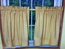 Versa-Ties Tier Pair Curtain Country Kitchen Window Treatment Yellow White 58X24