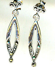 """925 Sterling Silver Marcasite Long Drop Dainty Earrings  Length 25mm  1"""""""