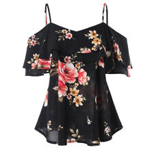 UK Womens Off Shoulder Floral Summer Tops Ladies Loose Casual Blouse Tee T Shirt