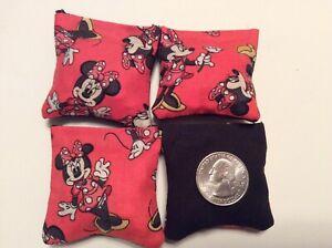 "4 Minnie Mouse ( Black  Back)  Mini cornhole, bean bags, 2"" X 2"""