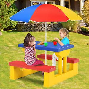 Kindersitzgruppe Kinder Sitzgarnitur Kindertisch Picknickbank mit Sonnenschirm