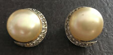 Beautiful Vintage Silver Tone Round w/ Pearls & Rhinestone CZ Clip-On Earrings