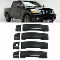 For 2004-2020 Nissan Titan 4PCS BLACK Door Handle Covers Overlay W/O Smartkey