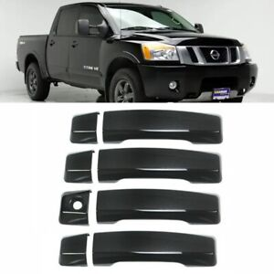 For 2004-2020 Nissan Titan 4PCS BLACK Door Handle Covers Overlay W/O Smartkey