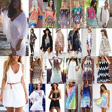 Boho Womens Celeb Beach Sun Dress Casual Loose Mini Dresses Cover Up Beachwear