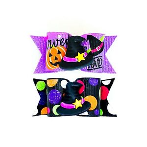 Dog Hair Bows- Halloween Glow in the Dark Witch Glitter Pet Bow Witch