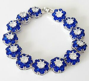 """Beautiful Gold Plated & Sparkling Sapphire Paste Crystal Tennis Link Bracelet 7"""""""