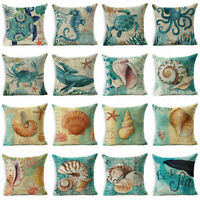 "18""Cotton Linen Retro Sea Animal Pillow Case Sofa Cushion Cover Throw Home Decor"