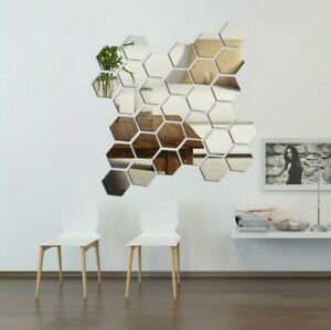 3D Hexagon Removable Mirror Home Decor Acrylic DIY Color Solid Stickers Art Wall