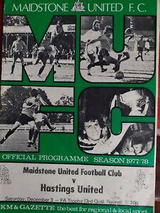 MAIDSTONE UNITED v HASTINGS UNITED,3/12/77. FA TROPHY PROGRAMME