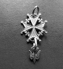 -CROCE UGONOTTA- CROCE VALDESE ciondolo in argento 925 millesimi Made in Italy