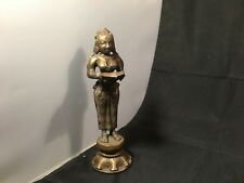 Indian Lady Brass Statuette w/ Diya Lamp – 18 cm Tall / 711g Home Decor Figurine