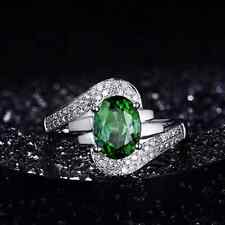 2.32ct Natural Green Tourmaline Good Diamond Fine Ring In Solid 18K White Gold