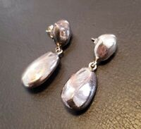 Sterling Silver 925 Dangle Drop Modernist Simple Stone Shaped 7g