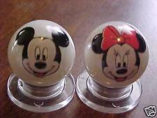 Very Nice Mickey & Minnie Mouse Glass Advertising Marbles