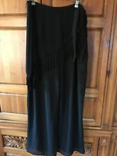 Evening Wide Leg Chiffon Pants With Attached Fringed Asymetrical Scarf Size 16