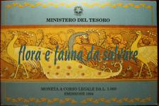NL* ITALIA 1000 LIRE ARGENTO 1994 FLORA E FAUNA DA SALVARE FDC SET ORIGIN. ZECCA
