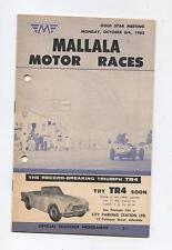1962 Mallala Programme Touring Racing Sports Cars Motorcycle Program Holden