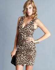 Sexy Leopard Animal Print Deep V-Neck Club Clothing Clubwear Dress S