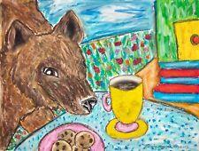 BROWN BEAR Drinking Coffee Collectible Wild Animal Art Print 8x10 Signed KSAMS