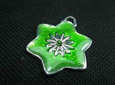 1 Emaille Anhänger grün m. Strass 30mm Perlen Beads 9746