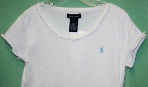 Ralph Lauren Girls White Polo Aqua Blue Pony Logo Knit Shirt Top