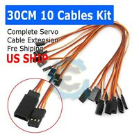 10Pc Female to Male Servo Extension Cable Wires For RC Car Futaba JR Connector
